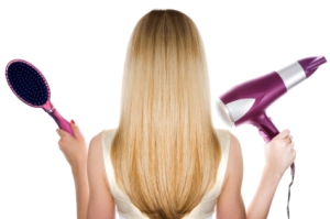 Blond hair and hairdresser's tools